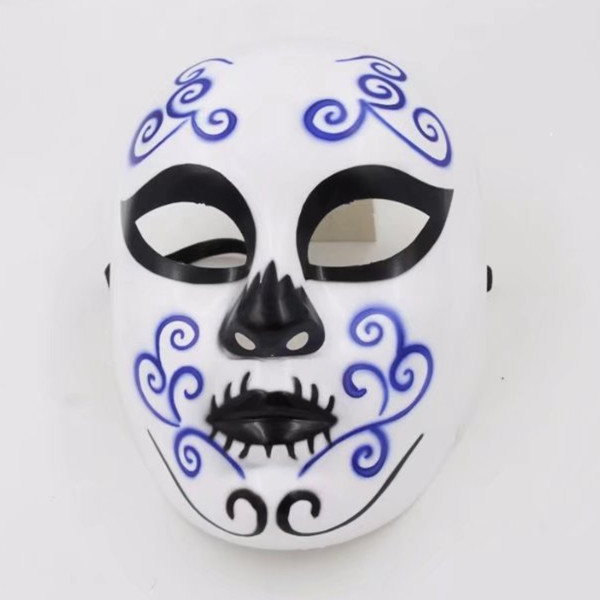 White And Blue Vintage Design Day Of The Dead Skeleton Mask