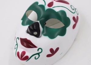 Mens Day of The Dead Men Full Face Skull Mask W Red Green Painting