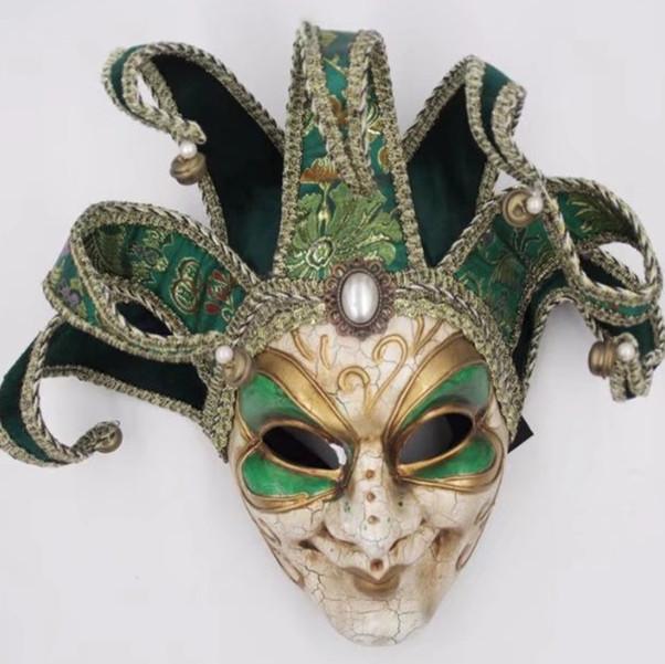 Venetian Jester Joker Mask Green Full Face Men Masquerade Wall Mask