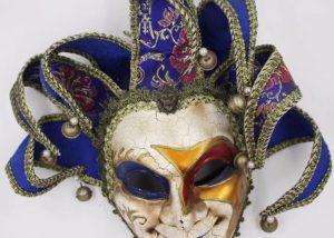 Jester Joker Full Face Mask Venetian Masquerade Decorative Wall Mask W Bell