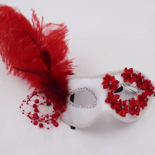 Valentine's Day Red Ribbon Flower White Fancy Design Party Mask