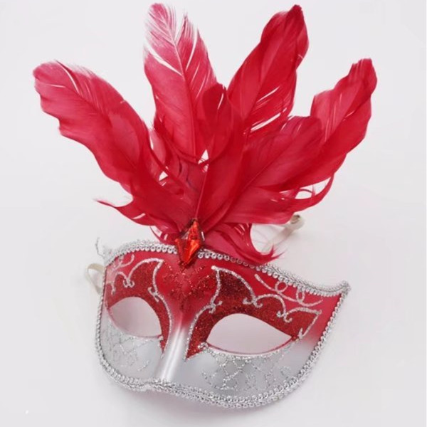 Red Feather Glitter Mask Venetian Style Masquerade Ball Party Face Eye Mask