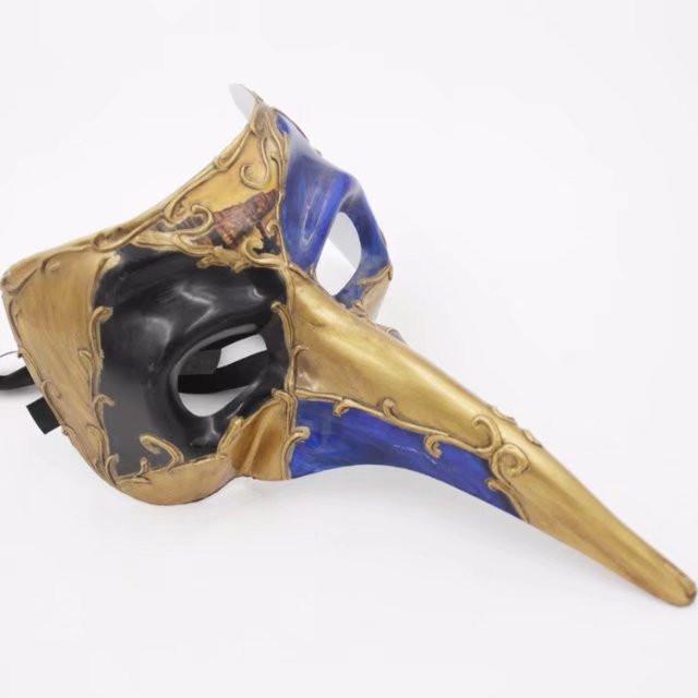 Mardi Gras Long Beak Mask Half Face Black W Blue Eyed Gold Mask