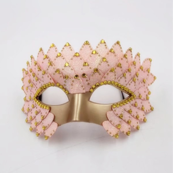 Valentine Day Pink Crown w Small Shiny Gold Face Fancy Masks