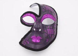 Valentine Black and Glitter Purple Half Face Female Masquerade Masks