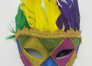 Gold Green Purple Fleur De Lis Venetian Feather Masquerade Mask
