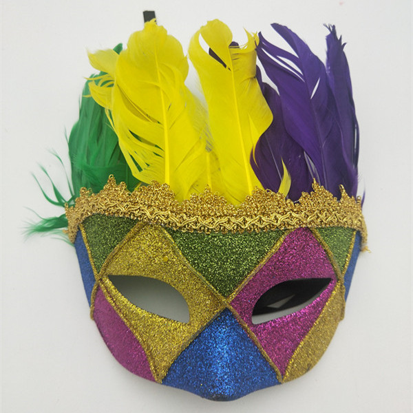 Gold Green Purple Fleur De Lis Venetian Feather Masquerade Mask