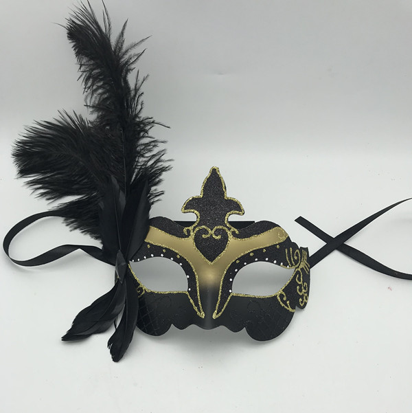 Fleur De Lis Glitter Mask W Black Feather Mardi Cras Costume Party Mask