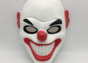 White-Red Clown Head Mask Halloween Scary Mask For Costume Party