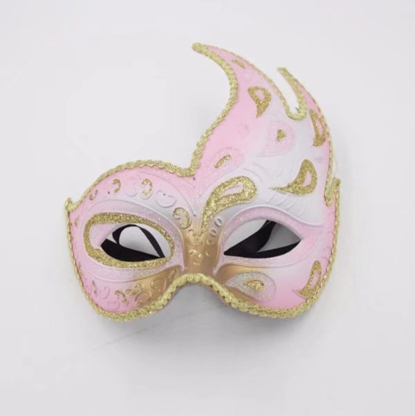 Valentine Day Pink and Gold Glitter Fancy Masquerade Ball Masks