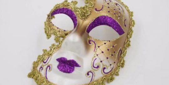 Valentine Day Purple Glitter Lips and Eyebrow w Gold Lined Mask
