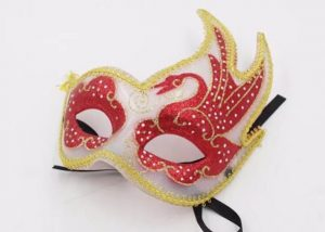 Valentine Day Red Eyes Yellow Lined White Fancy Mask For Carnival Party