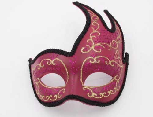 Valentine Day Vintage Wine Gold Lined Fancy Mask Party Costume