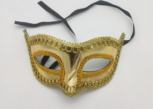 Golden Half Face Eye Mask For Mardi Gras Costume Party Supply