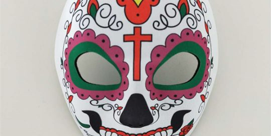 Flowered Multicolor Day of The Dead Sugar Skull Skeleton Face Mask