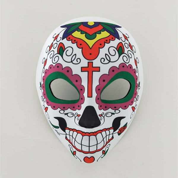 Flowered Multicolor Day of The Dead Sugar Skull Skeleton Face Mask