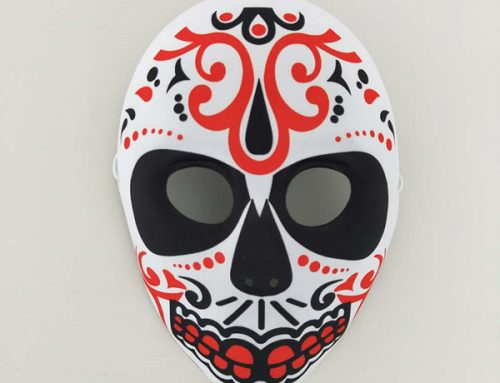 Red Black Prominent Day of The Dead Sugar Full Face Mask Party Costume