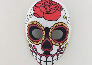Skeletal Red Flower Full Face Day of The Dead Sugar Mask