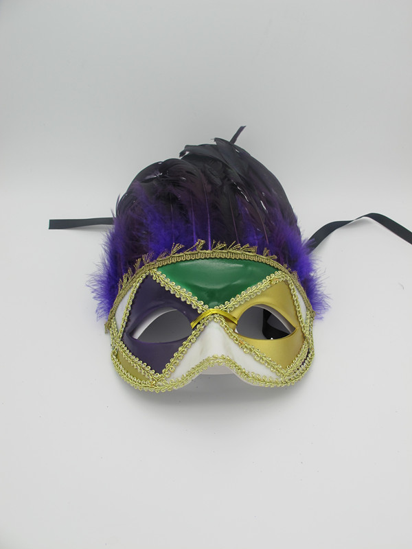 Purple Green Gold Eyemask with Feathers Carnival Party Mask