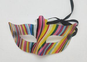 Multi Color Stripes Rainbow Eye Mask Mardi Gras Carnival Costume