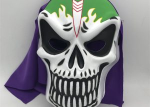Balck Green Skeleton Mask W Purple Veil
