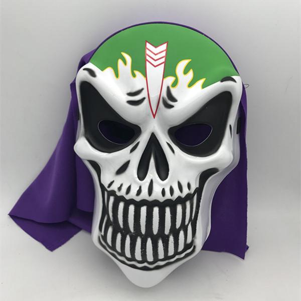 Balck Green Skeleton Mask W Purple Veil