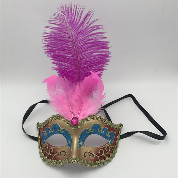 Glittering Teal Eye Pink Gem w Pink Feathers Masks For Mardi Gras Party