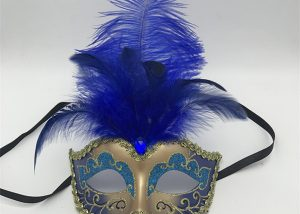 Blue Gold Glittering Venetian Masquerade Mask with Feathers Mardi Gras