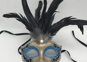 Black feather Silver and Teal Glitter Carnival Eye Mask For Mardi Gras
