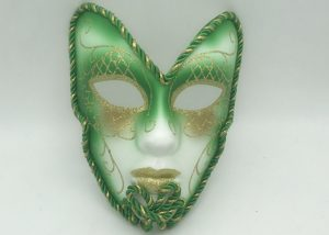 Green Cold Glitter Full Face Mask On A Stick Ladies Fancy Dress Venetian Carnival