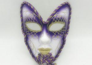 Purple Gold Tinted V Forehead Full Face Mask Venetian Mask Costume