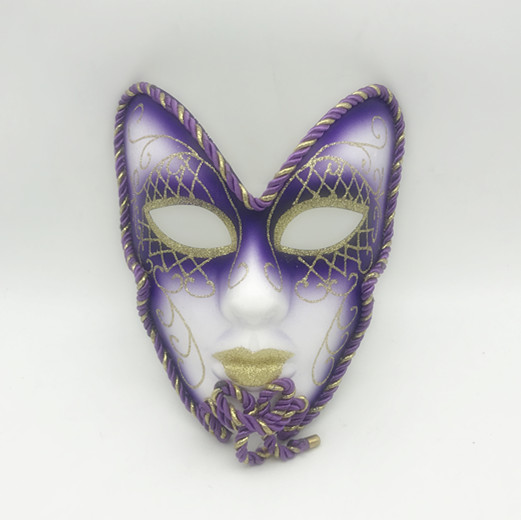 Purple Gold Tinted V Forehead Full Face Mask Venetian Mask Costume