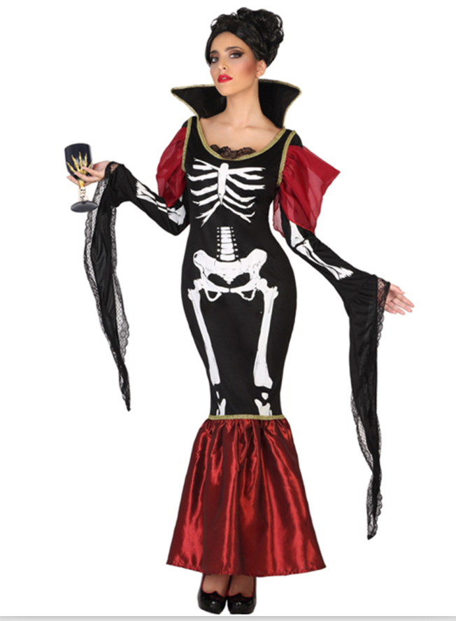 Halloween Bone Costume For Women Top Skirt Skeleton Costume Dress
