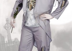 Grey Ghost Bridegroom Mens Costume Men's Grey Zombie Prom Ghost Groom Costume