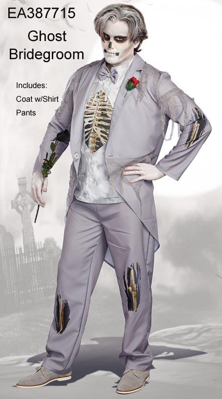 Grey Ghost Bridegroom Mens Costume Men's Grey Zombie Prom Ghost Groom Costume