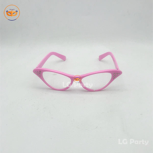 Pink Rhinestone Cat Eye 50s Party Glasses For Men and Women