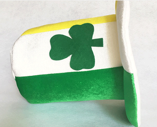 St. Patricks Day Shamrock Green White Yellow Velvet Top Hat