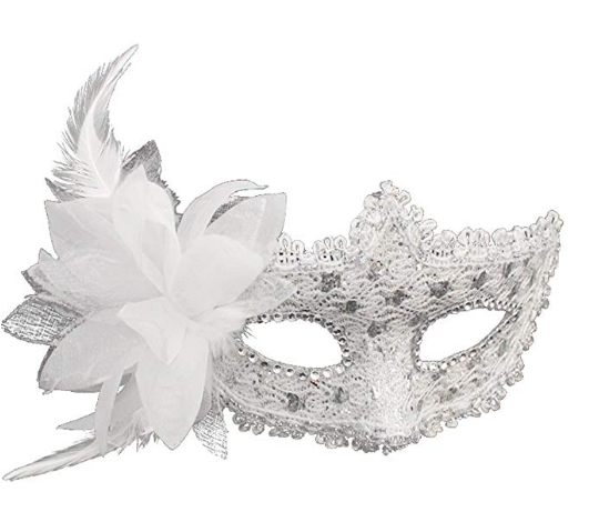 Christmas Costume Masquerade Mask W White Flower