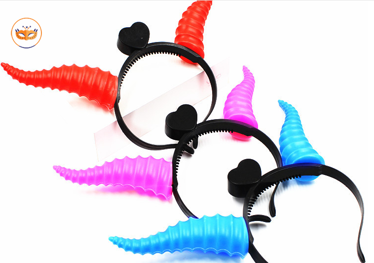 Glowing Little Devil Horns and Antlers Hair Hoop LED Sparkle Plastic Head Hoop for Children