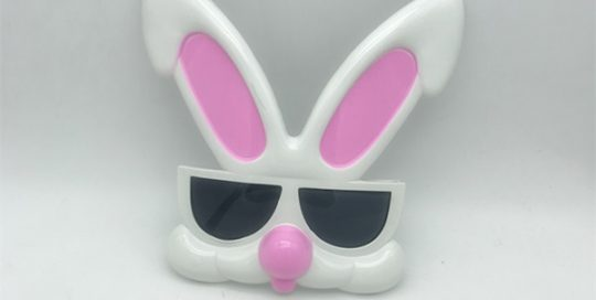 White Pink Rabbit Plastic Novelty Eyeglasses