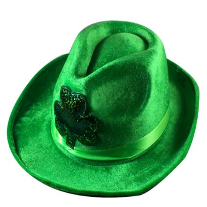 St. Patrick Green Felt Cowboy Costume Headwear w Shamrock Style