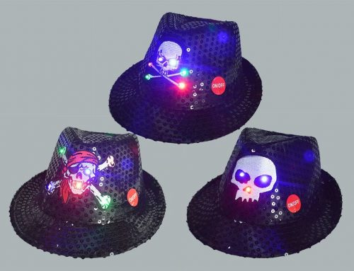 Halloween Skeleton Ghost LED Flashing Hat Sequins Jazz Hats Caps