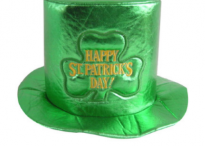 St. Patricks Day Party Favor Costume Green Shamrock Top Shiny Hat