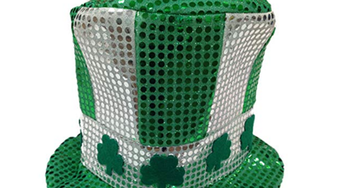 St. Patrick Lucy Green Day Sequin Hat Fabric Costume Party Head Wear
