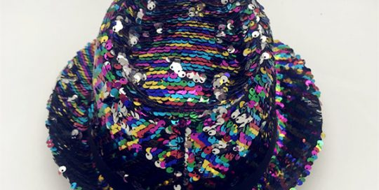fc4dc7ad70d99 Sequined Fedora Hat Gay Pride Sequins Bright Party Cap Rainbow Hat