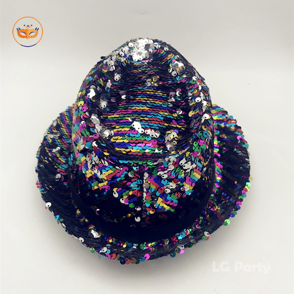 Sequined Fedora Hat Gay Pride Sequins Bright Party Cap Rainbow Hat