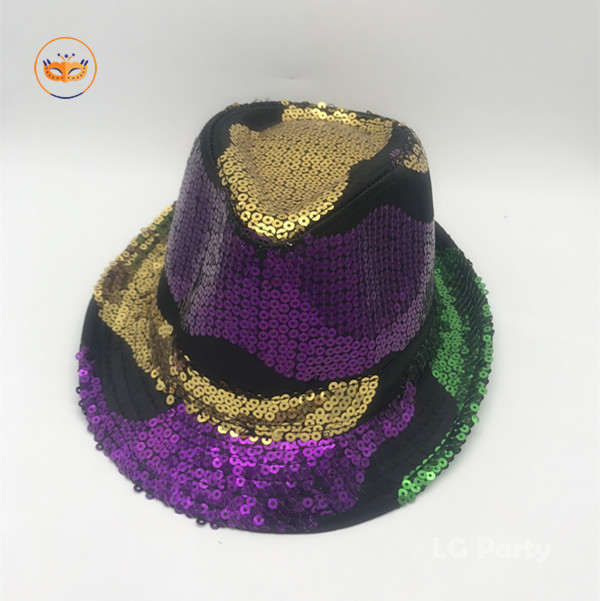 Unisex Mardi Gras Sequined Floppy Party Hat