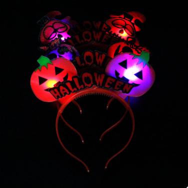 Halloween LED Flashing Pumpkin Skeleton Skull Light Up Headband