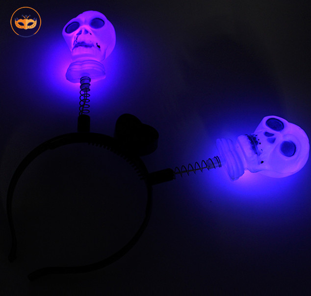 Halloween Plastic Skull LED Light Up Headband Led Flashing Headband