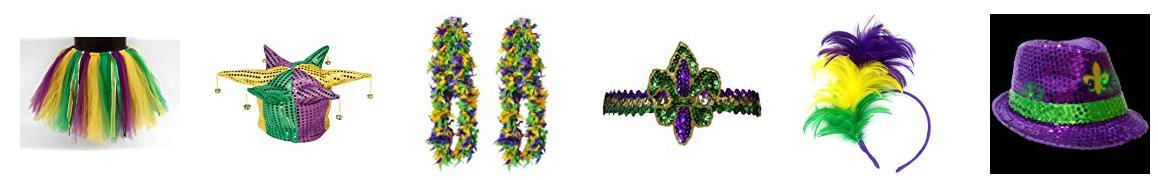 Mardi Gras feather lei, tutu skirt, masks